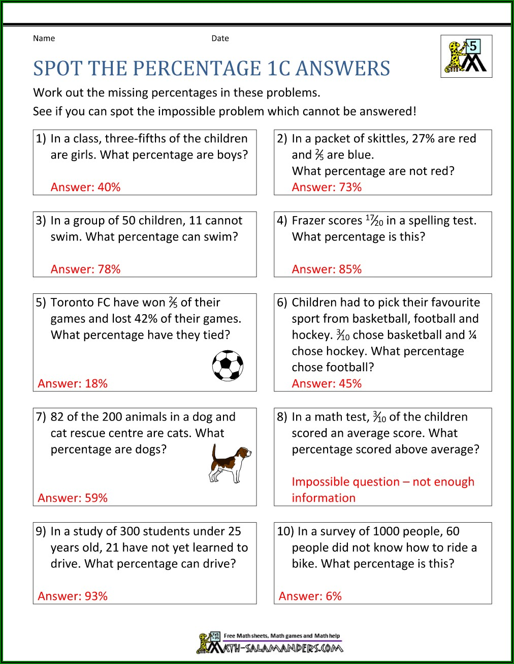 Percentage Word Problems Worksheet With Answers Pdf