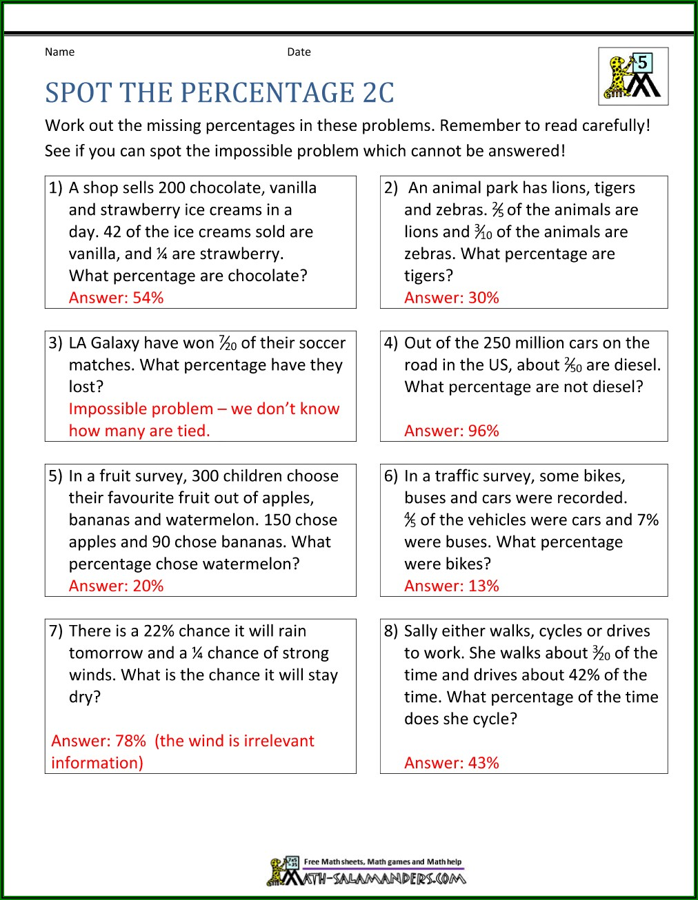 Percentage Word Problems Worksheets For Grade 7 With Answers
