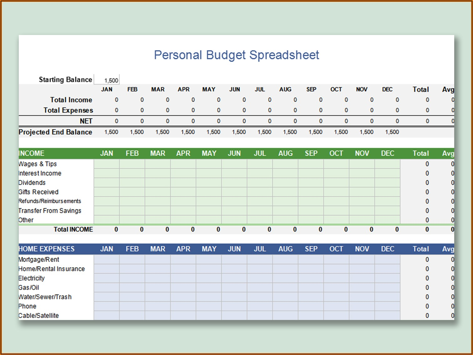 Personal Budget Excel Spreadsheet Free Download
