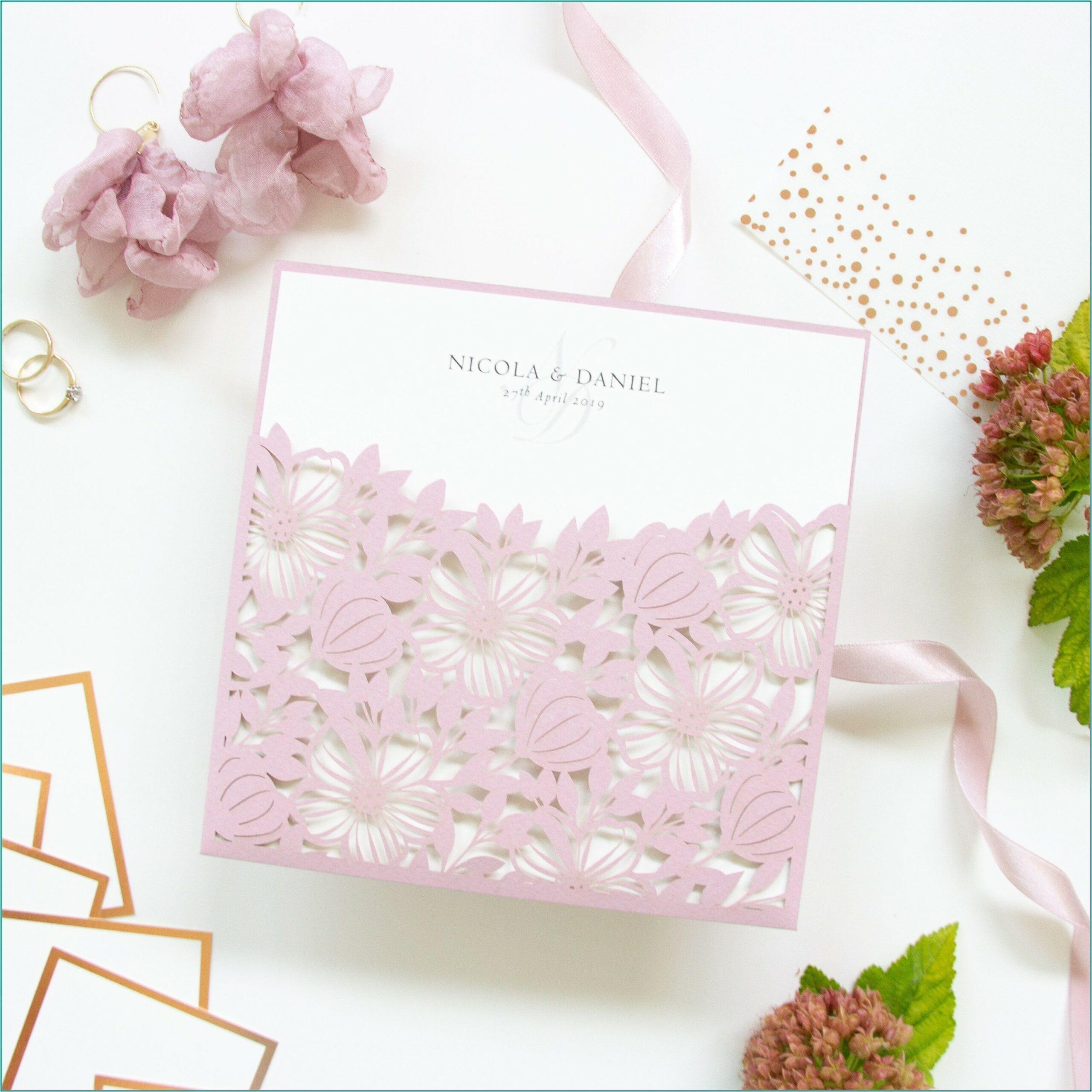 Pink Lace Diy Wedding Invitations