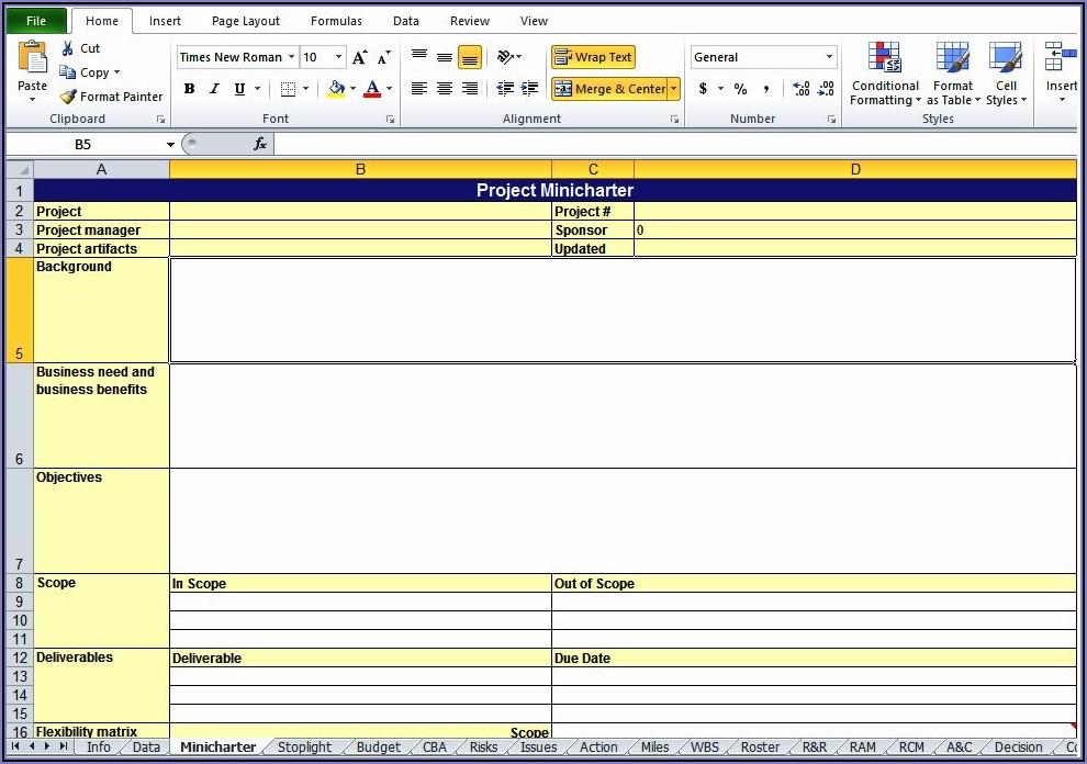 Project Work Plan Template Xls