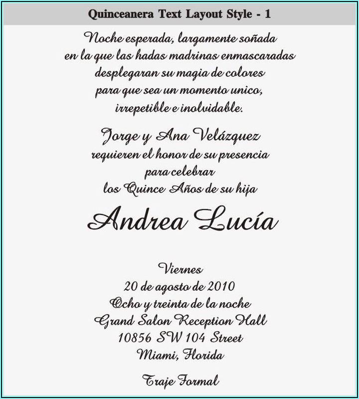 Quinceanera Invitations Wording In Spanish Samples
