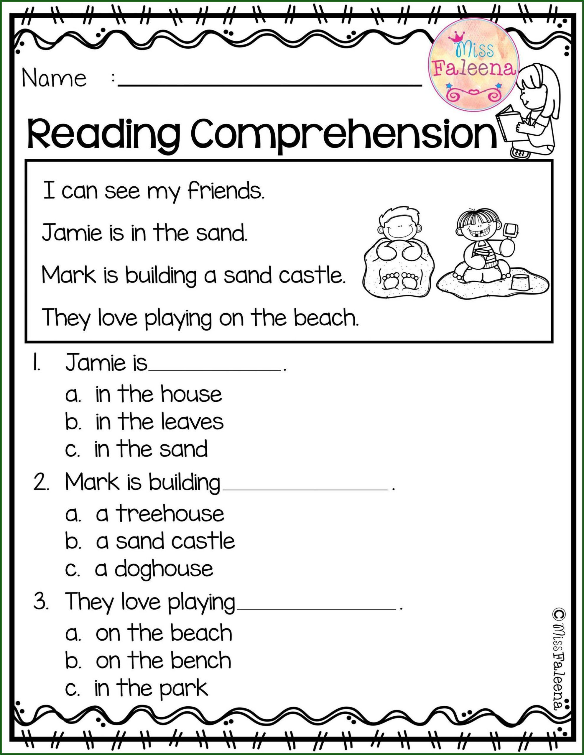 Reading Comprehension Worksheet Kindergarten