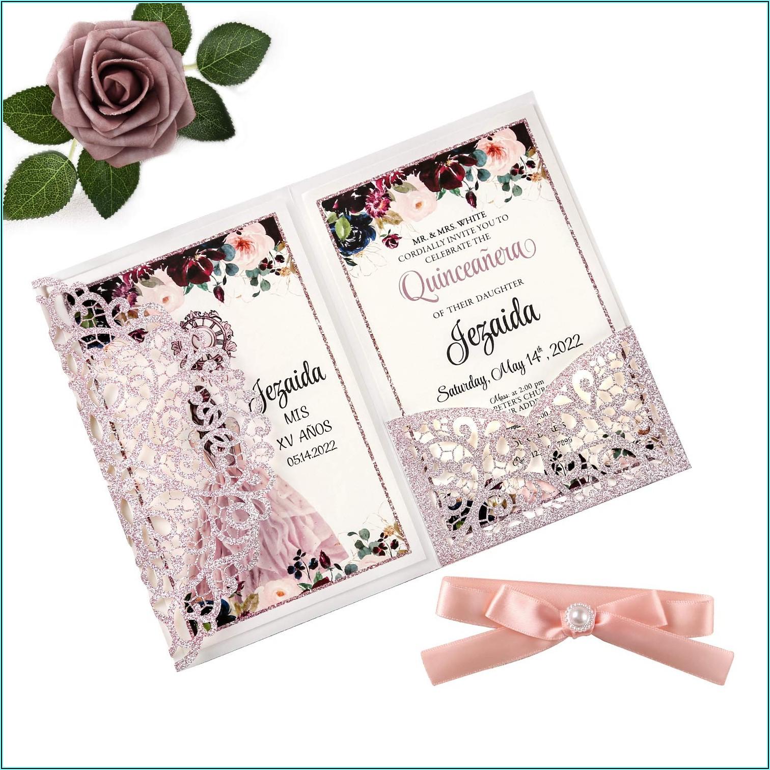 Rose Gold Blank Invitations