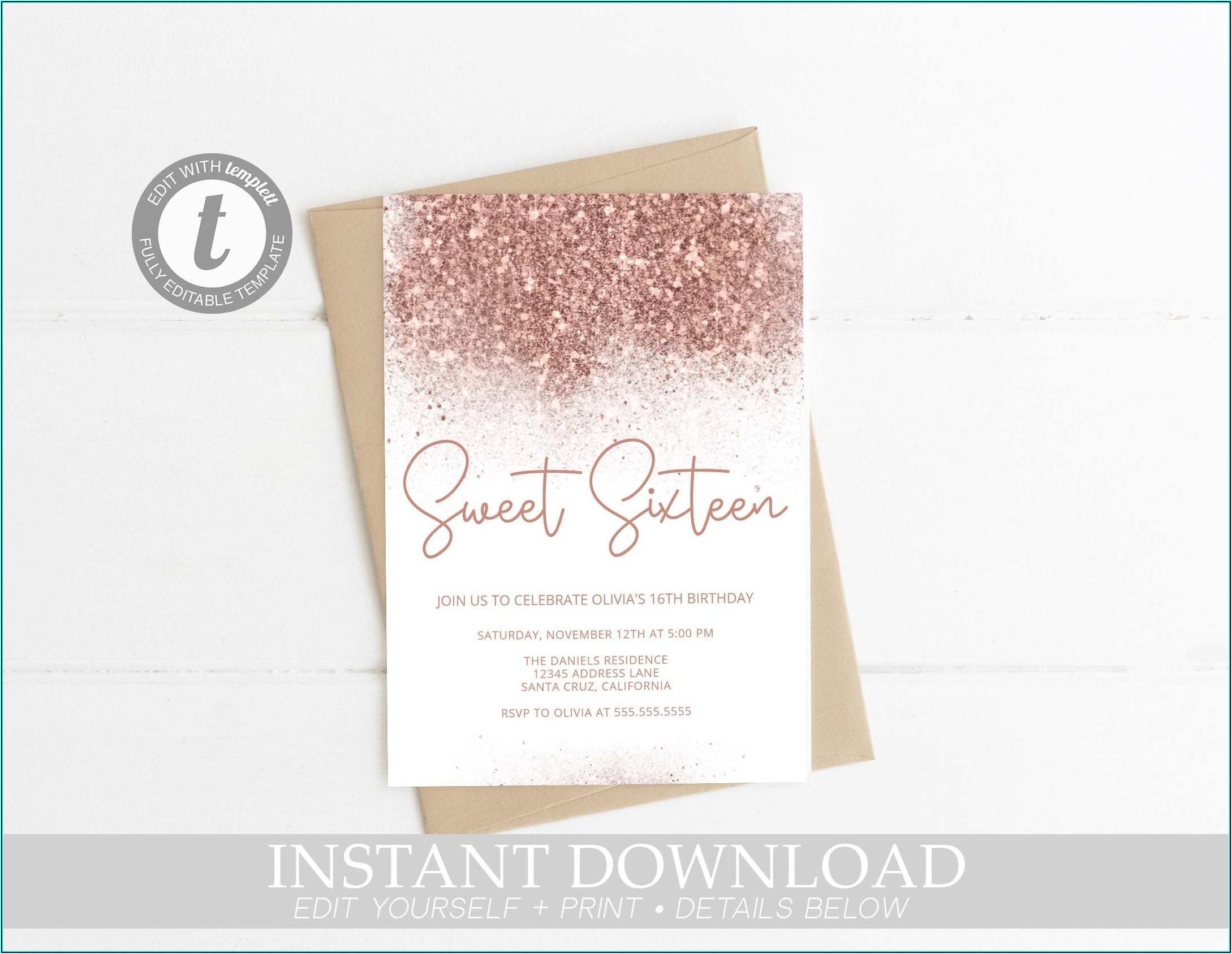 Rose Gold Invitations Sweet 16