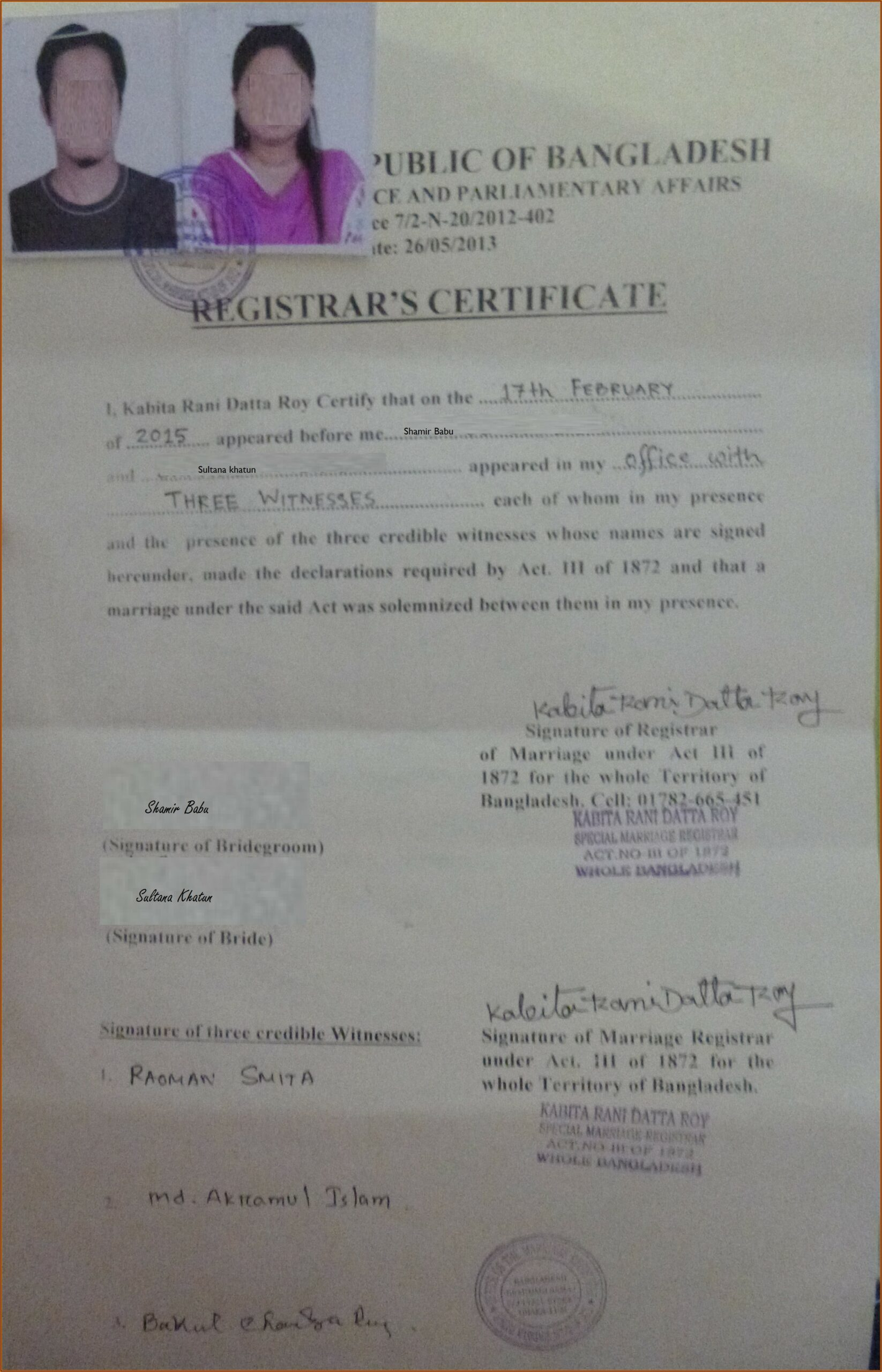 Sample Affidavit Of Two Disinterested Persons