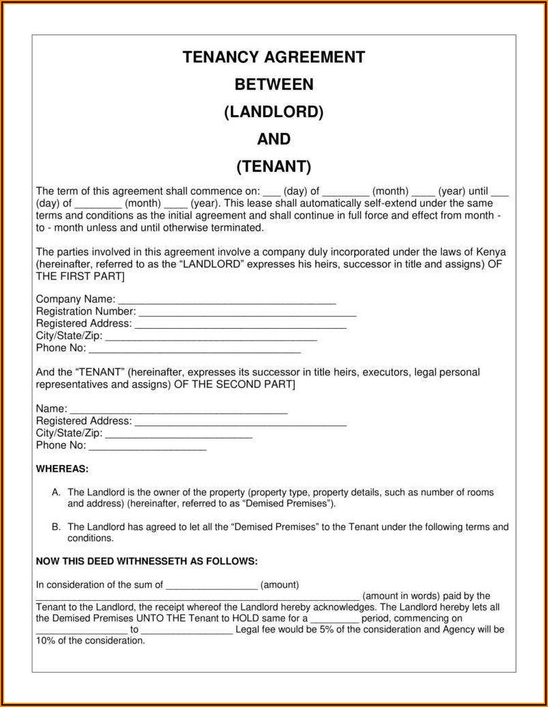 Sample Contract Agreement Between Landlord And Tenant
