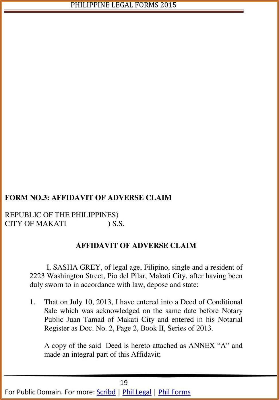 Sample Form Affidavit Of Adverse Claim