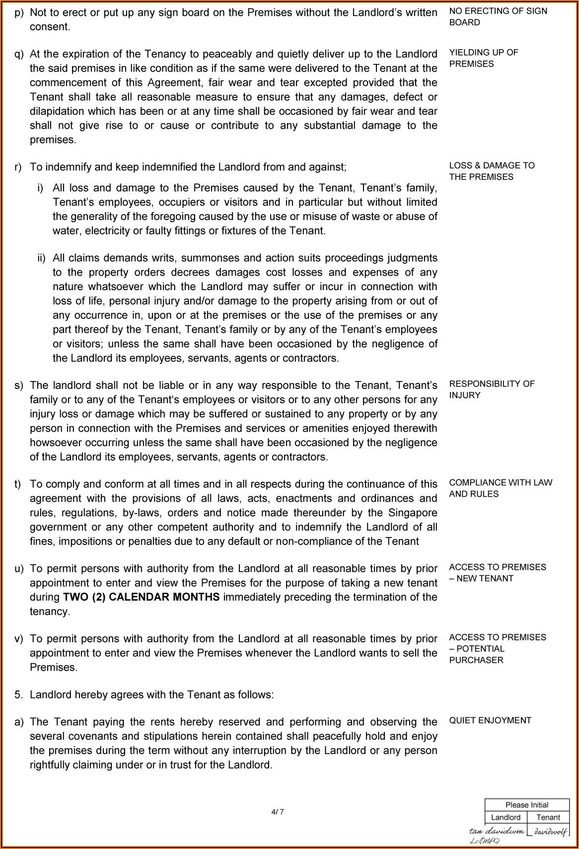 Sample Tenancy Agreement Landlord And Tenant