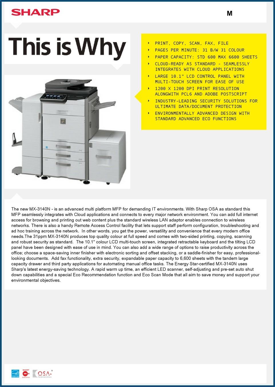 Sharp Mx 3140n Manual