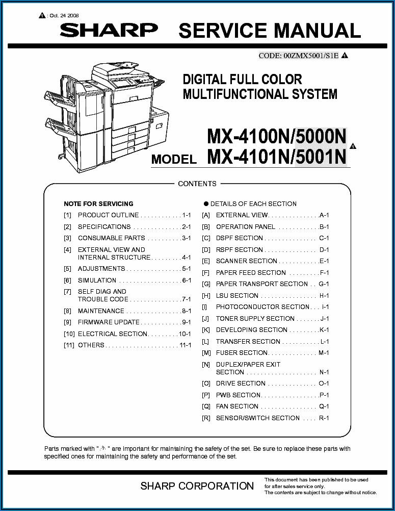 Sharp Mx 3140n Service Manual