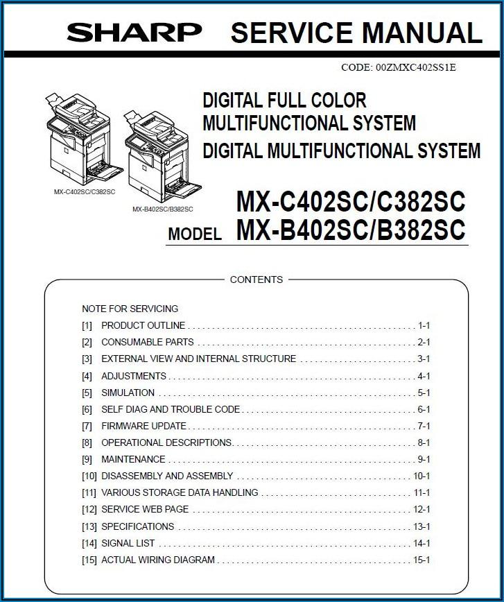 Sharp Mx 5111n Service Manual