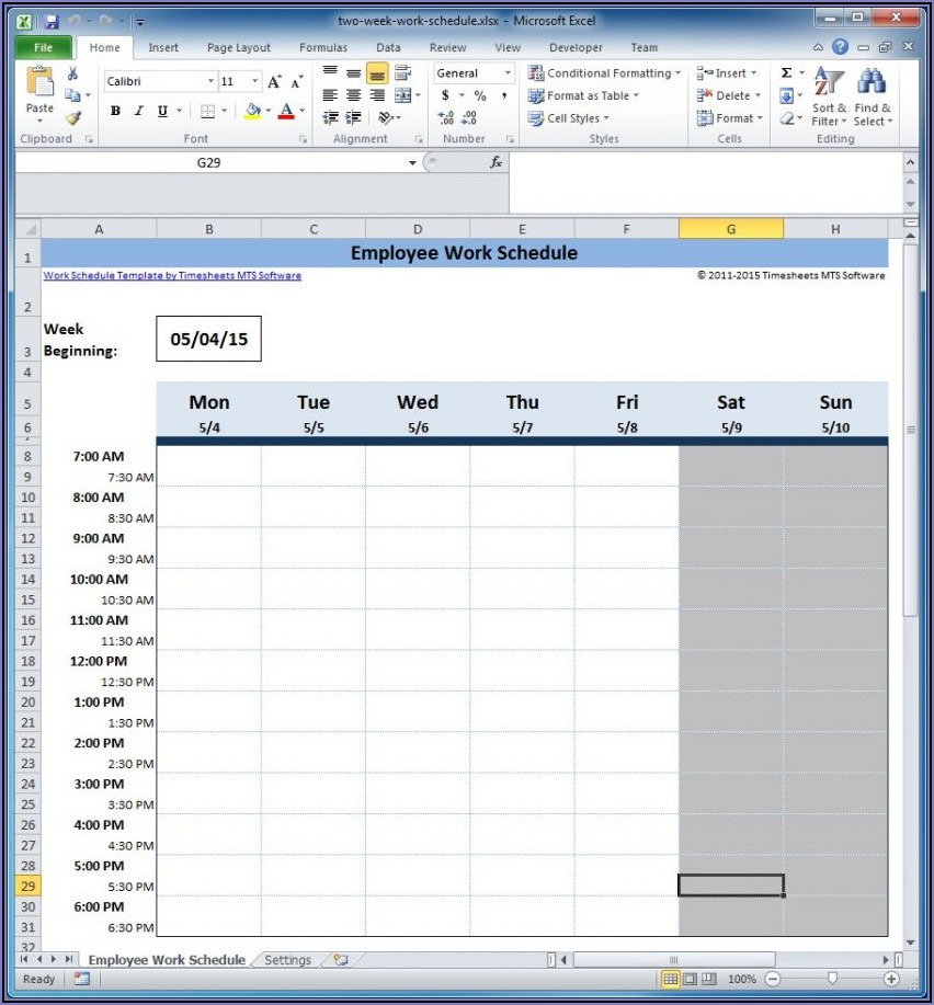 Shift Schedule Spreadsheet Template