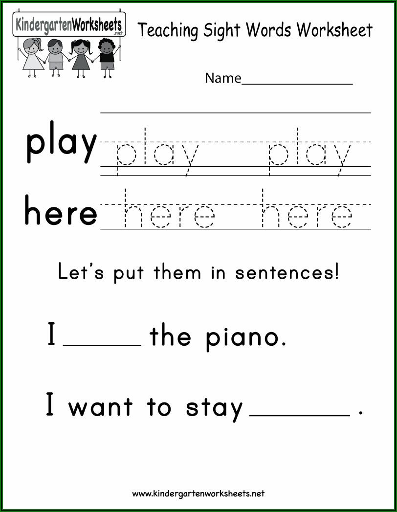 Sight Words Printable For Kindergarten