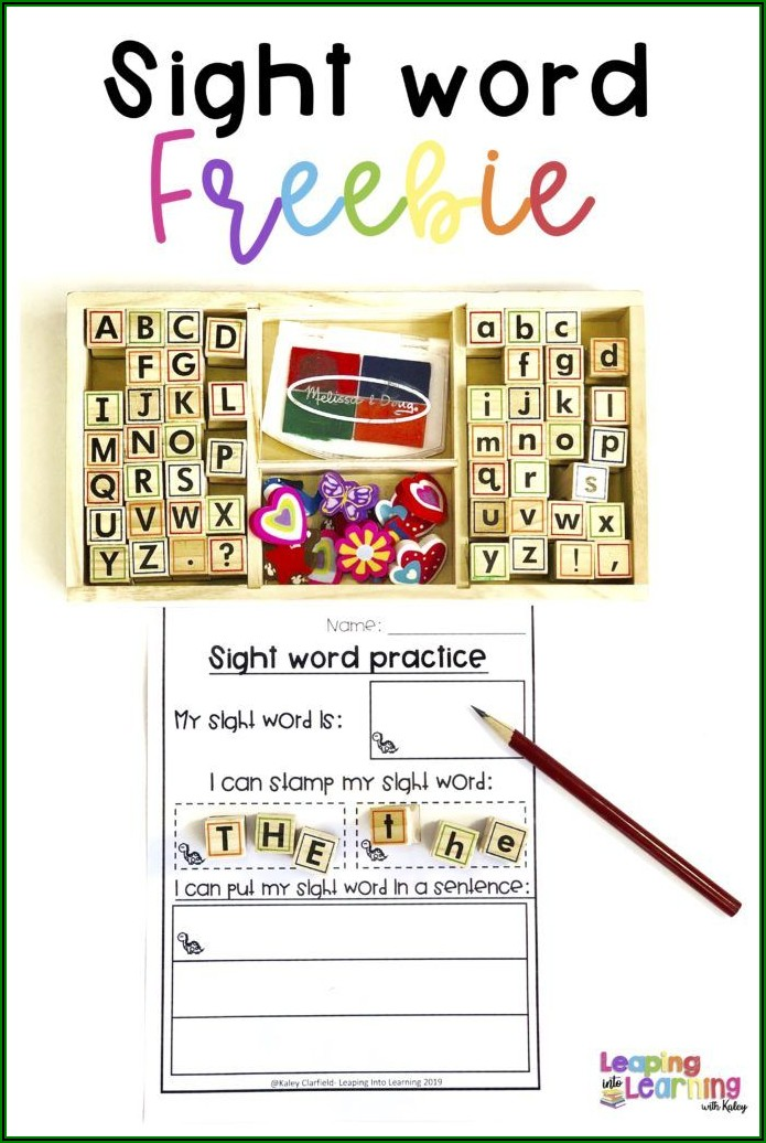 Sight Words Printables For Kindergarten