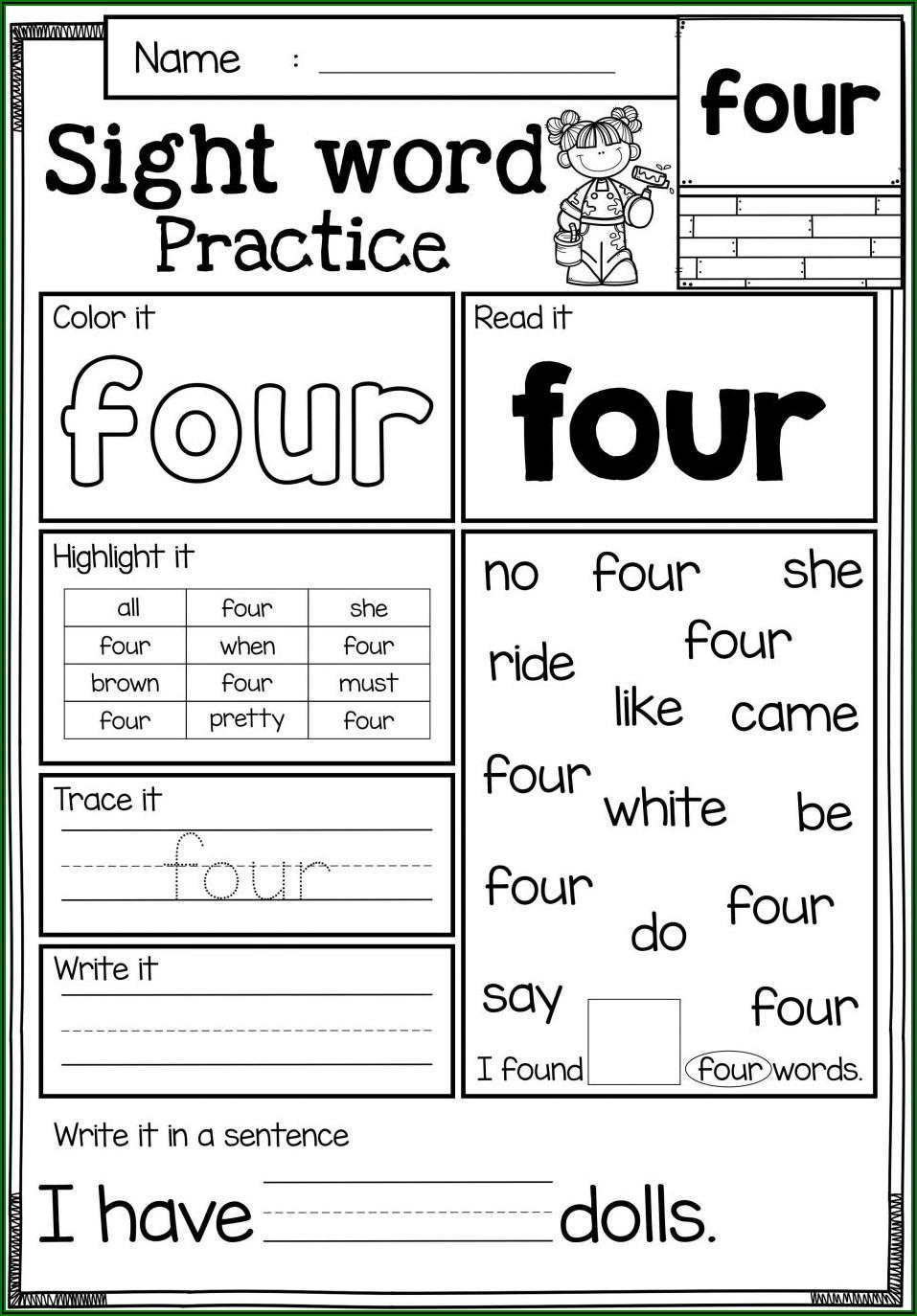 Sight Words Worksheets For Kindergarten Pdf