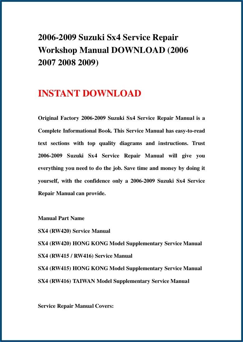 Suzuki Sx4 Parts Catalog Pdf