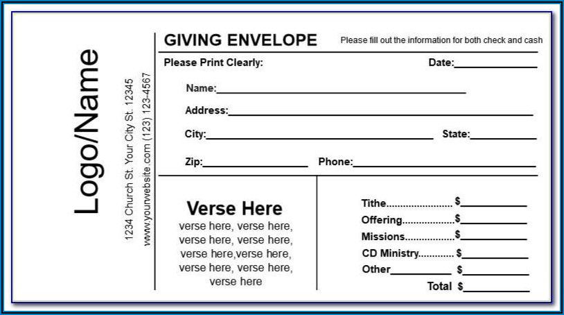 Tithe And Offering Envelopes Templates