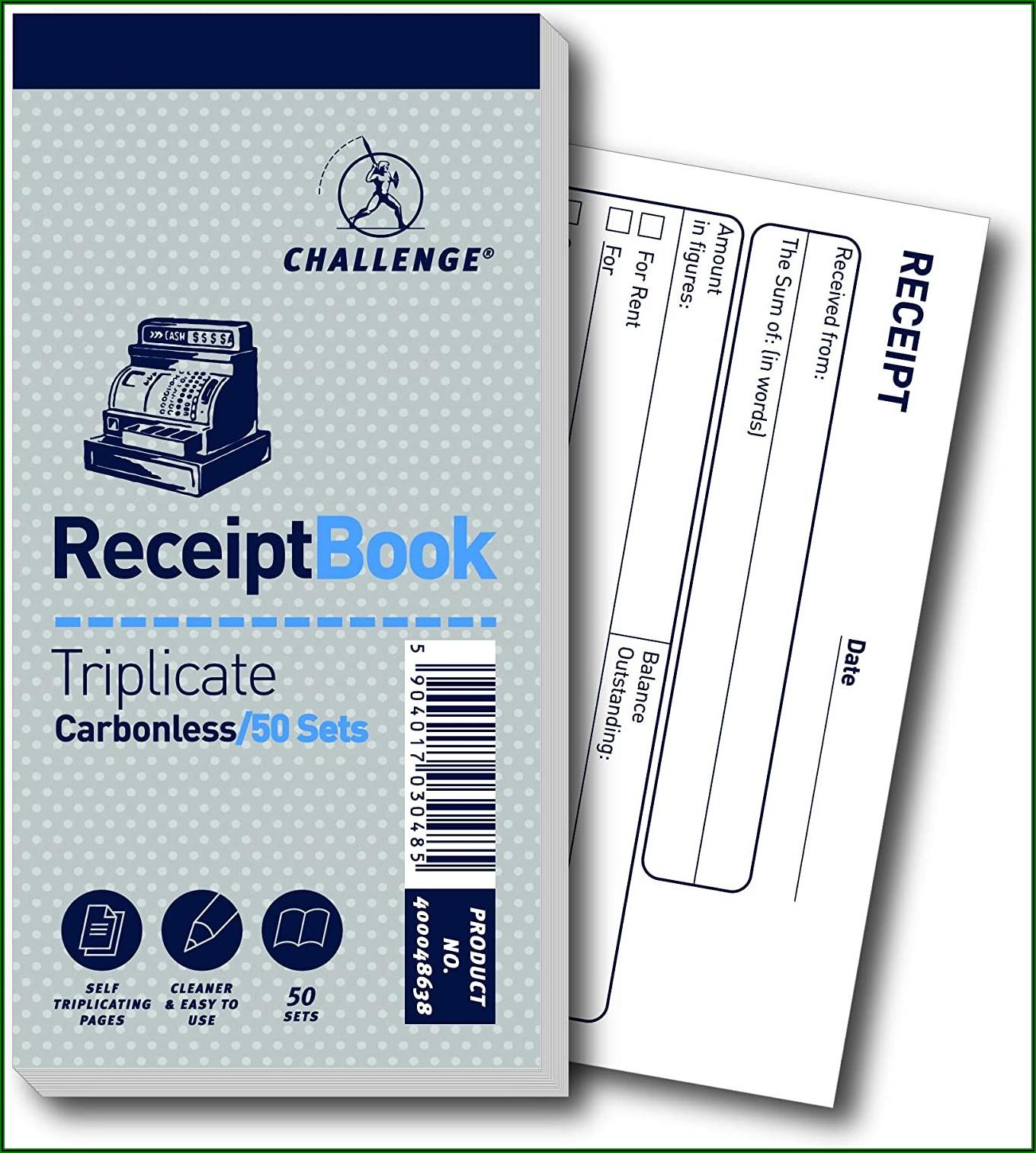 Triplicate Receipt Book Carbonless