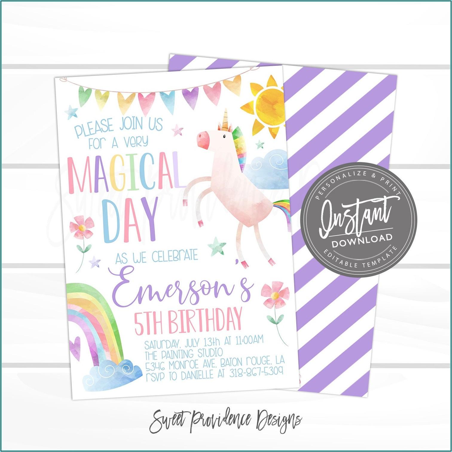 Unicorn Invitation Template Editable