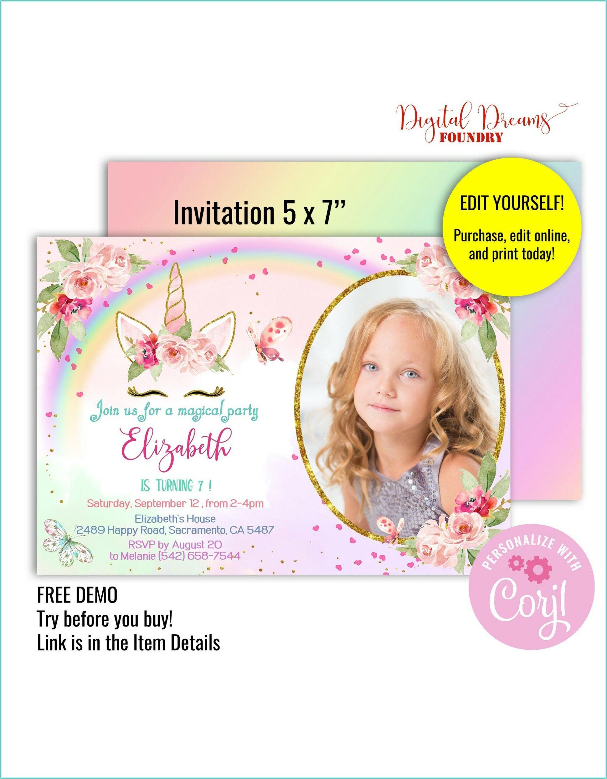 Unicorn Invitation Template With Photo