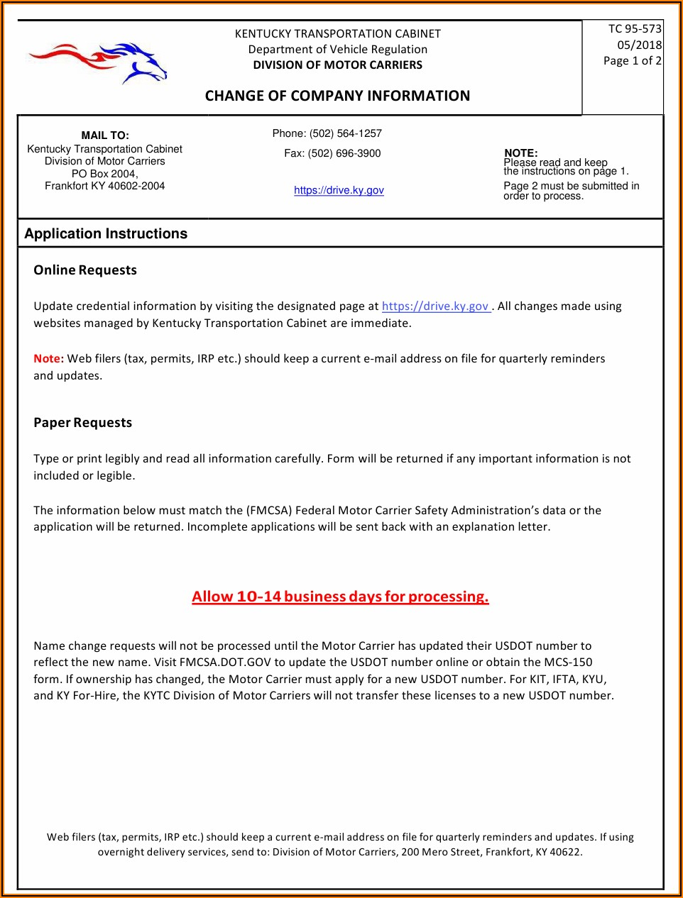 Update Mcs 150 Form Online