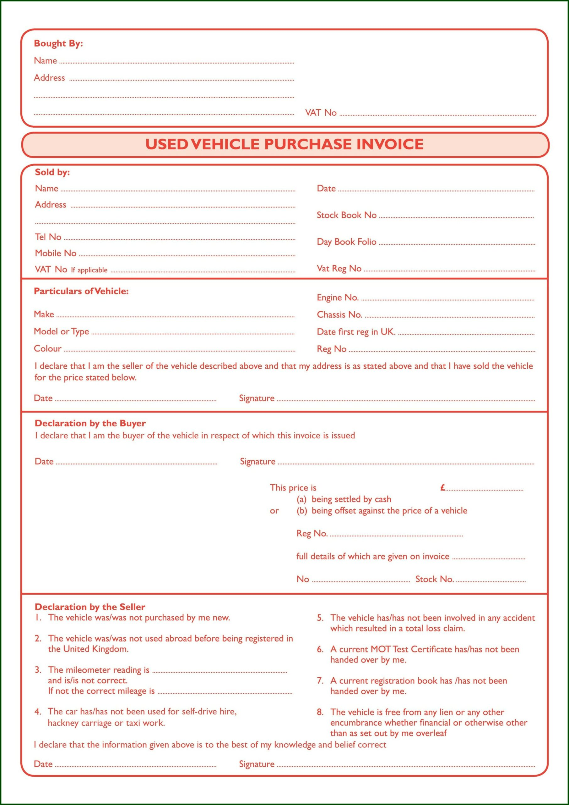 Used Car Sales Invoice Template Uk Free
