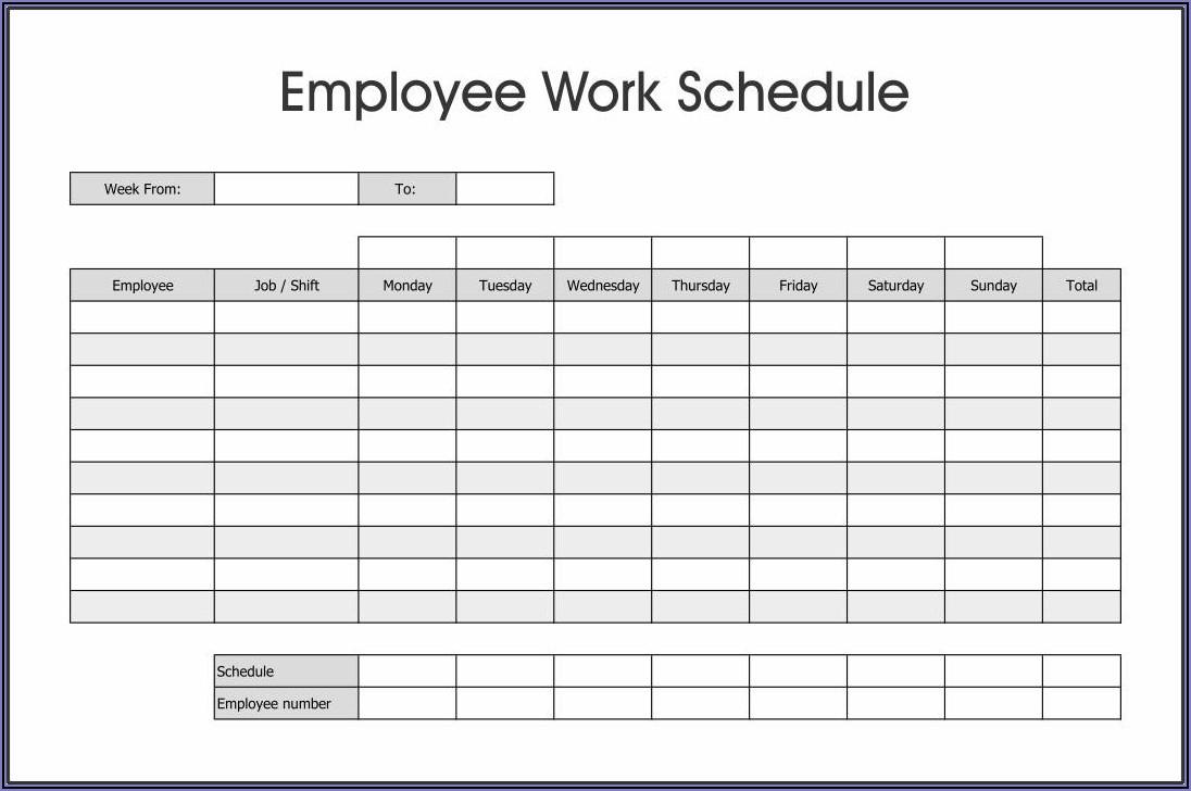 Weekly Work Calendar Template Excel