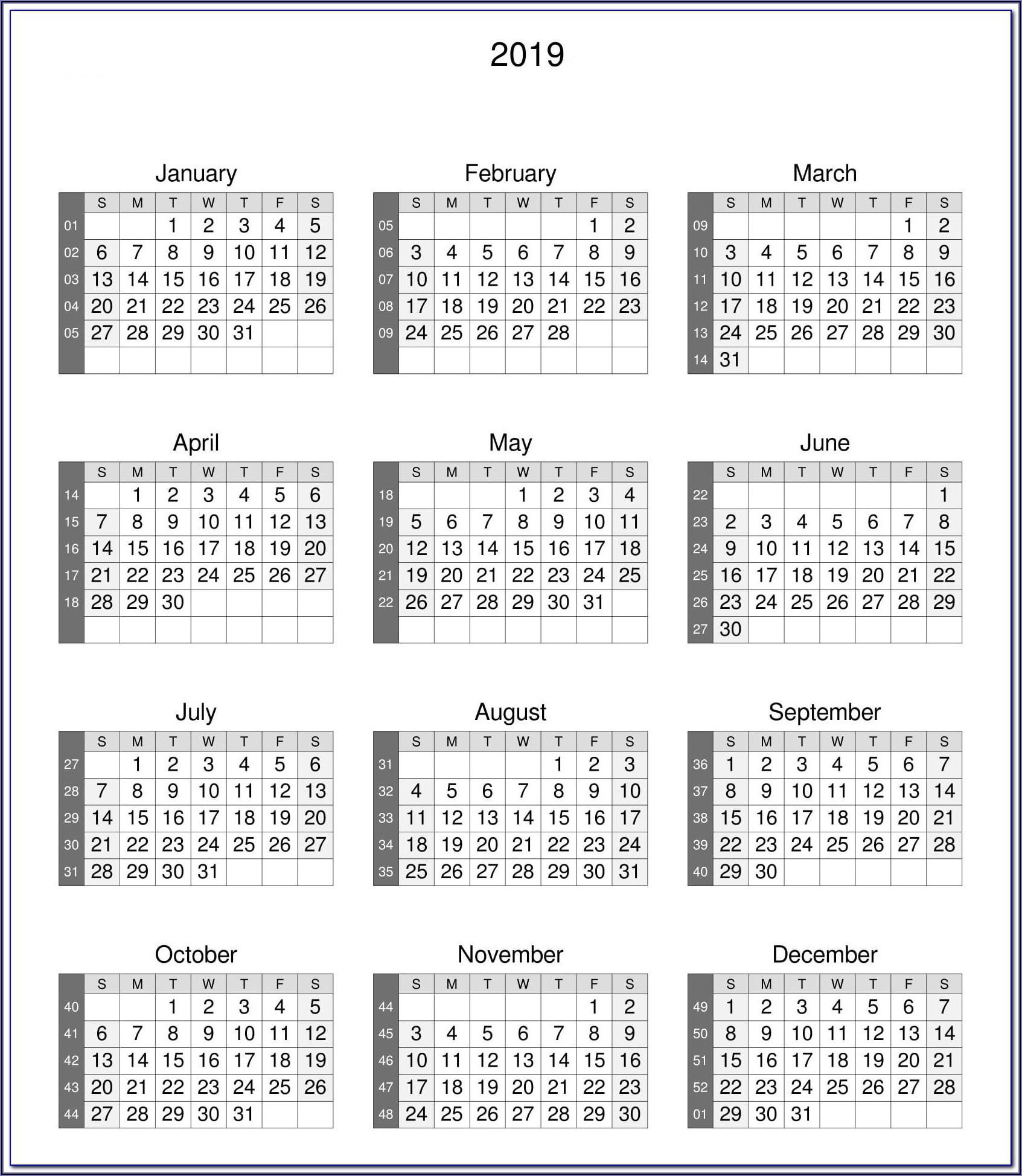 Work Calendar Template 2019