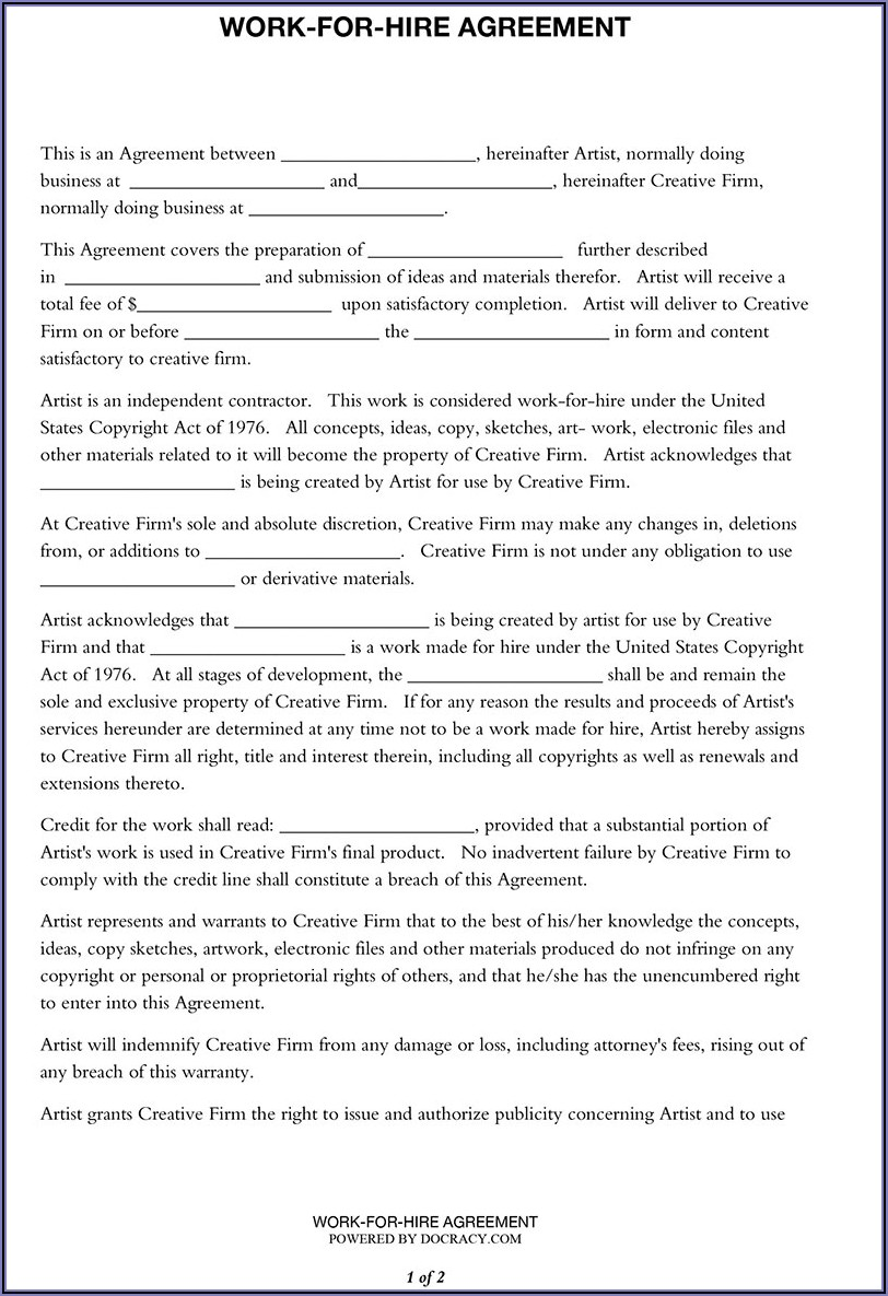 Work For Hire Artist Contract Template