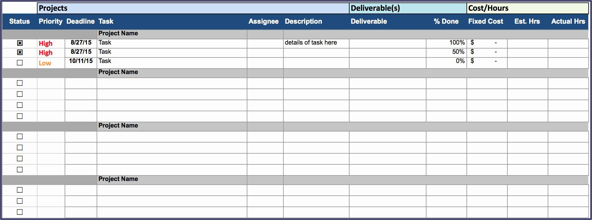 Work Plan Excel Template Free