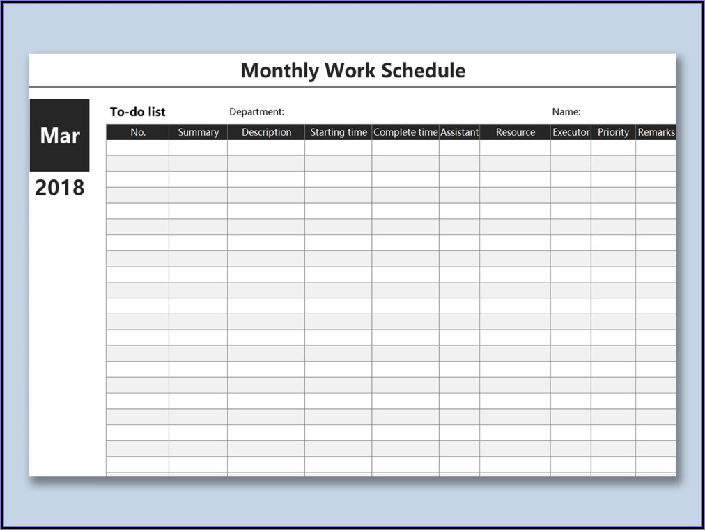 Work Plan Spreadsheet Template