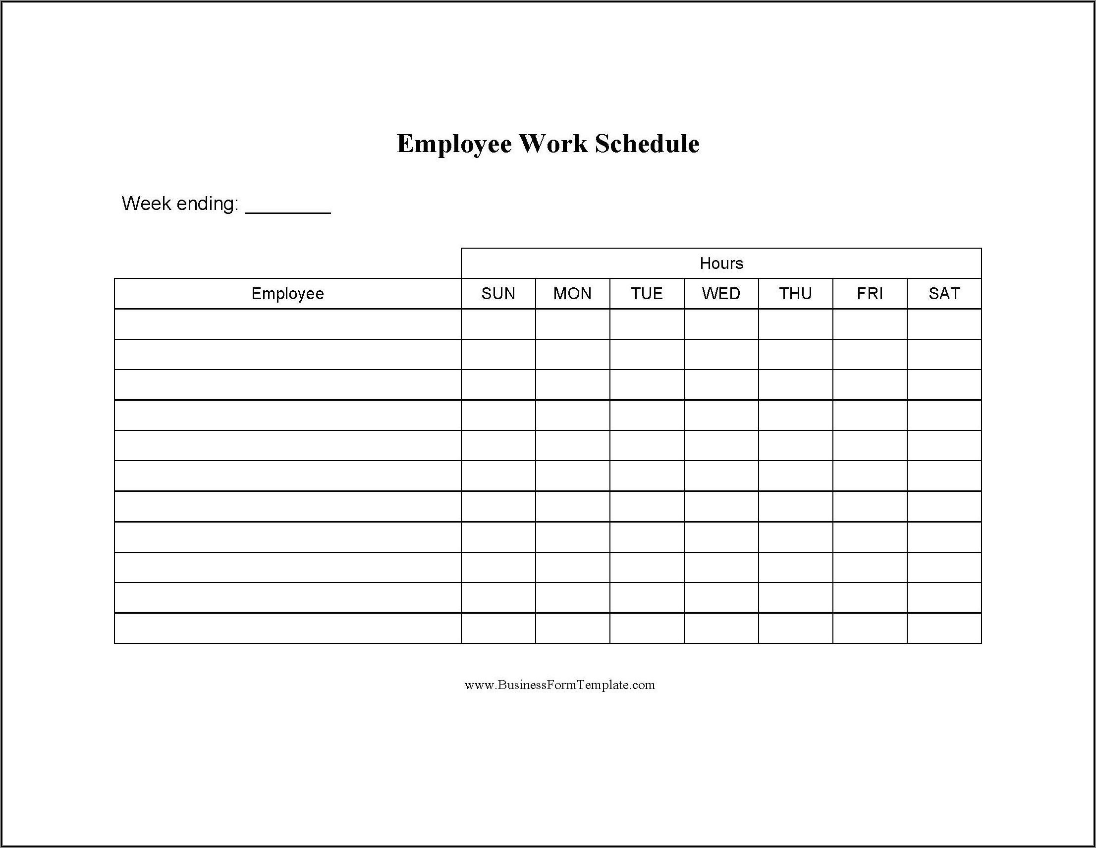 Work Schedule Format Word