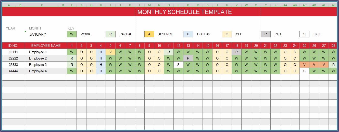 Work Schedule Monthly Excel Template