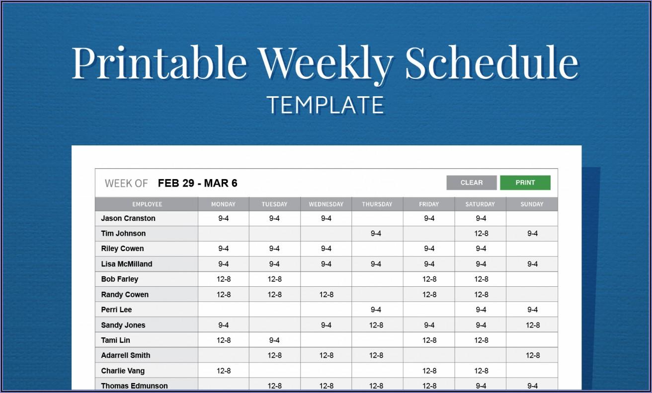 Work Schedule Weekly Template