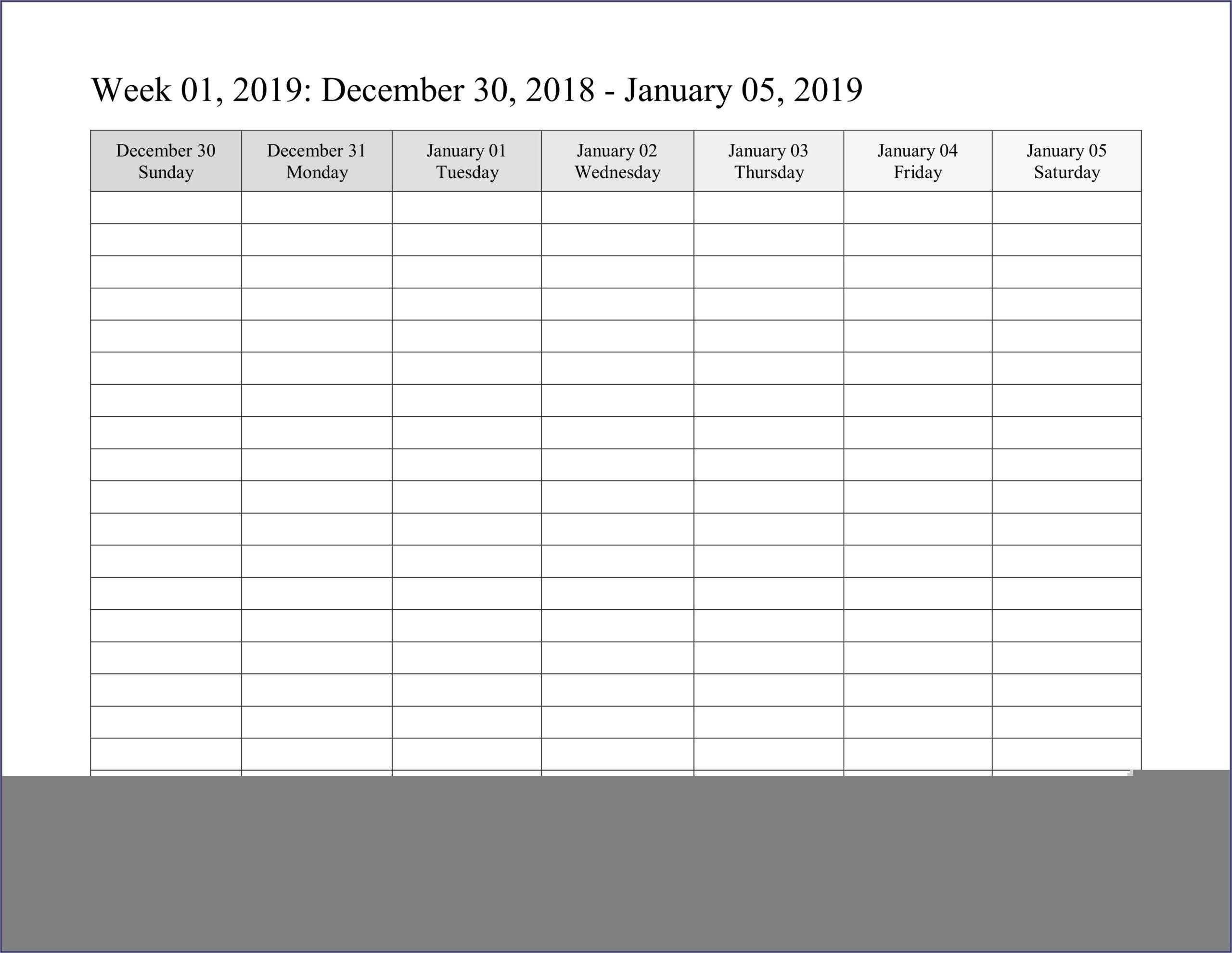 Work Week Calendar Template 2019