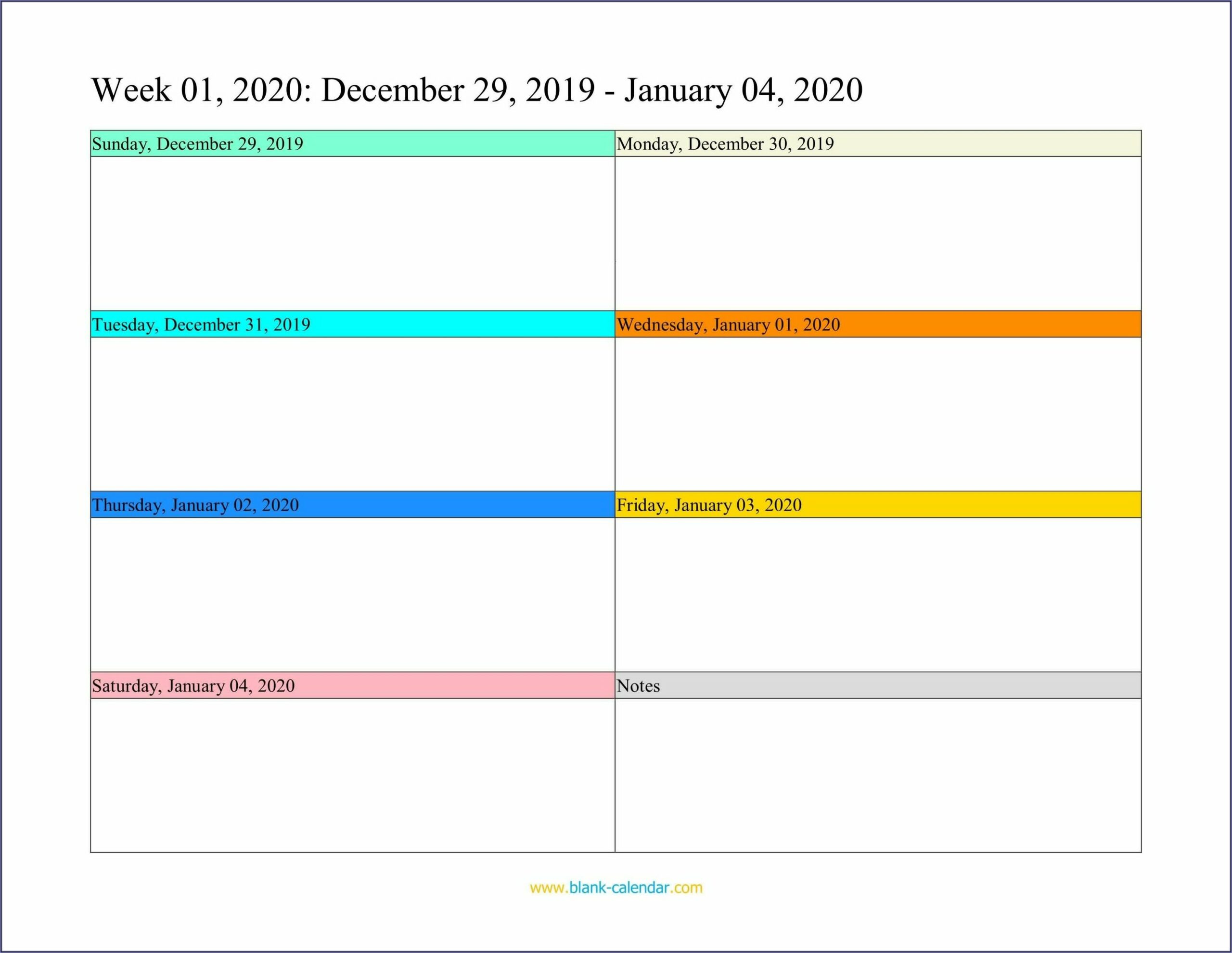Work Week Calendar Template 2020