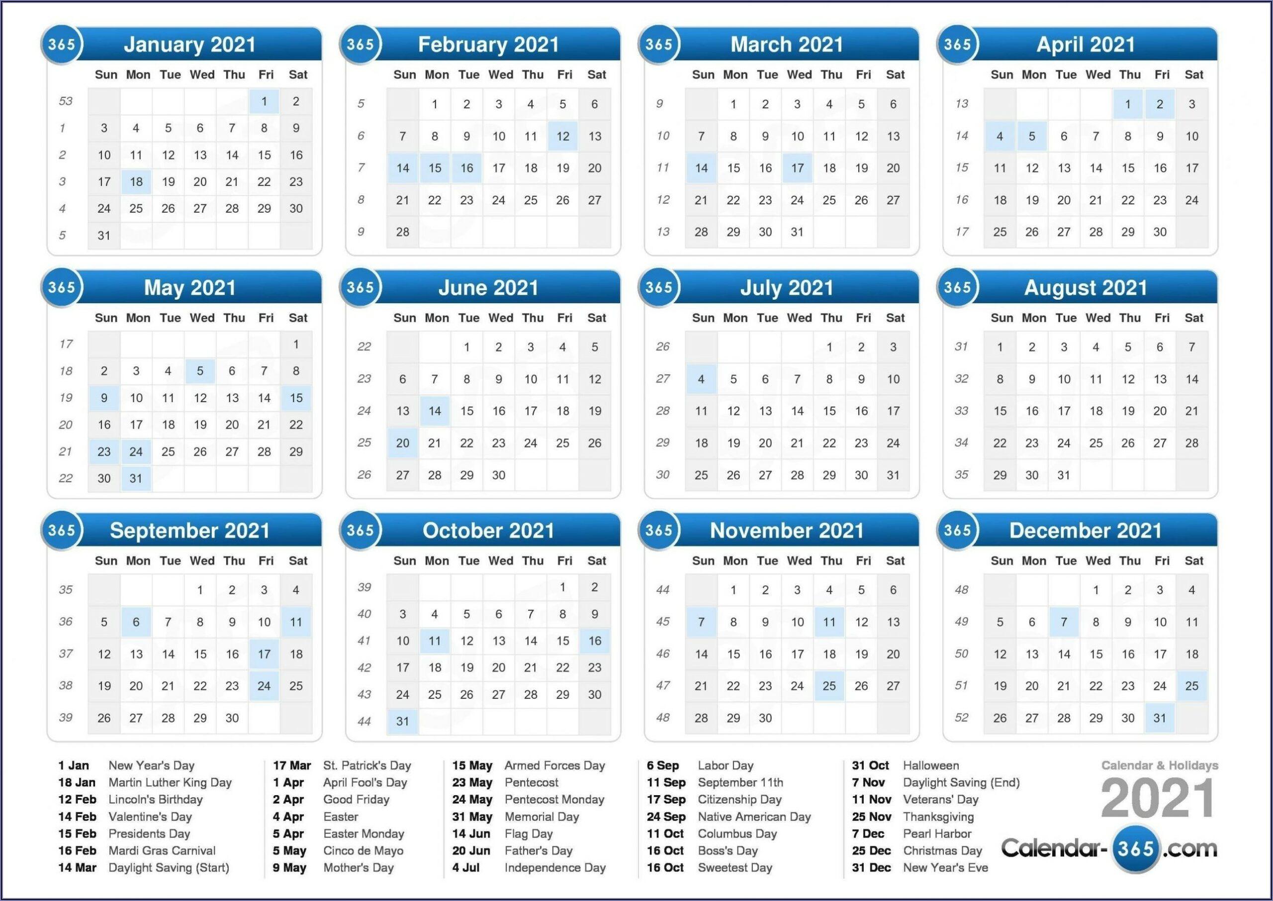 Work Week Calendar Template Printable