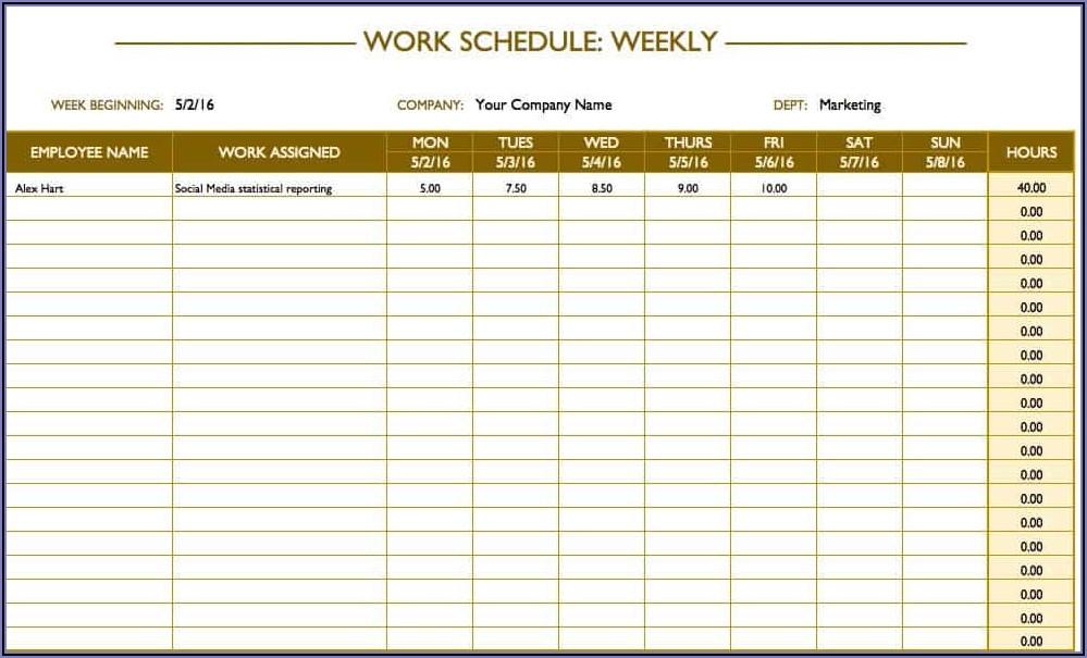 Work Week Calendar Templates
