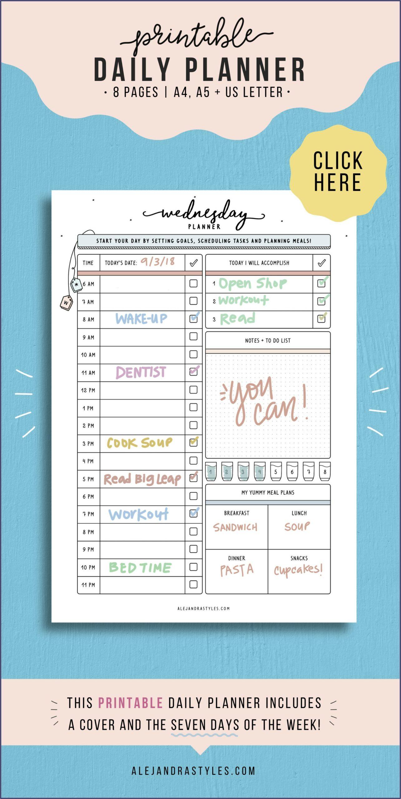 Work Week Hourly Calendar Template
