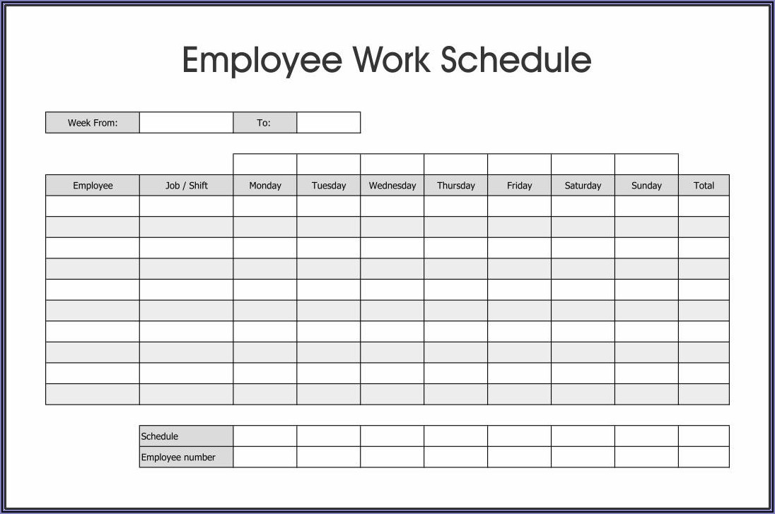 Work Weekly Schedule Template Excel