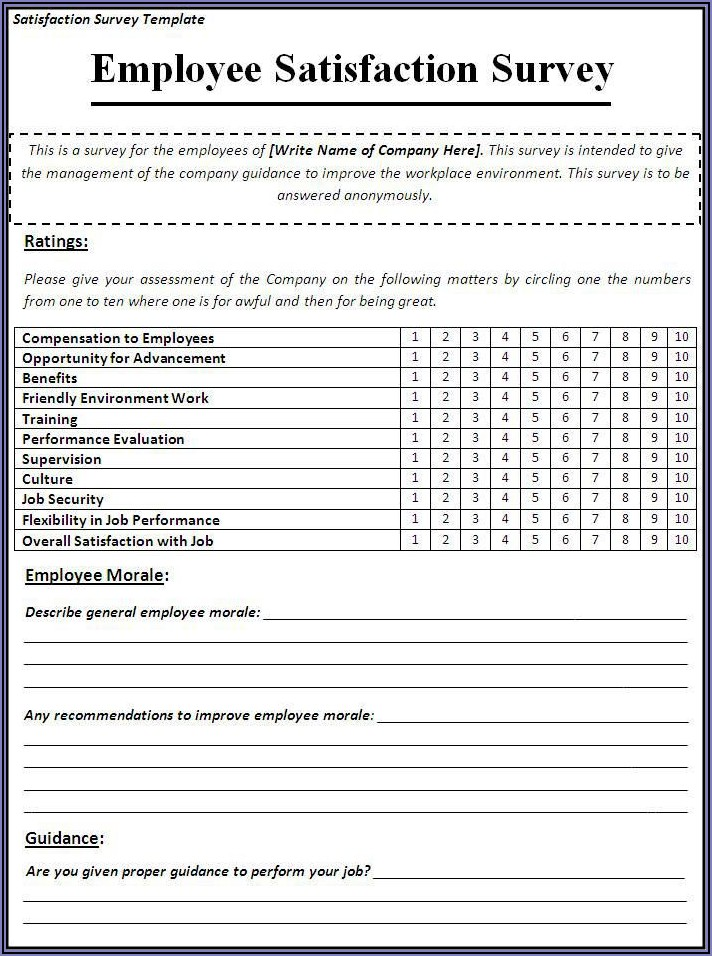 Worker Satisfaction Survey Template