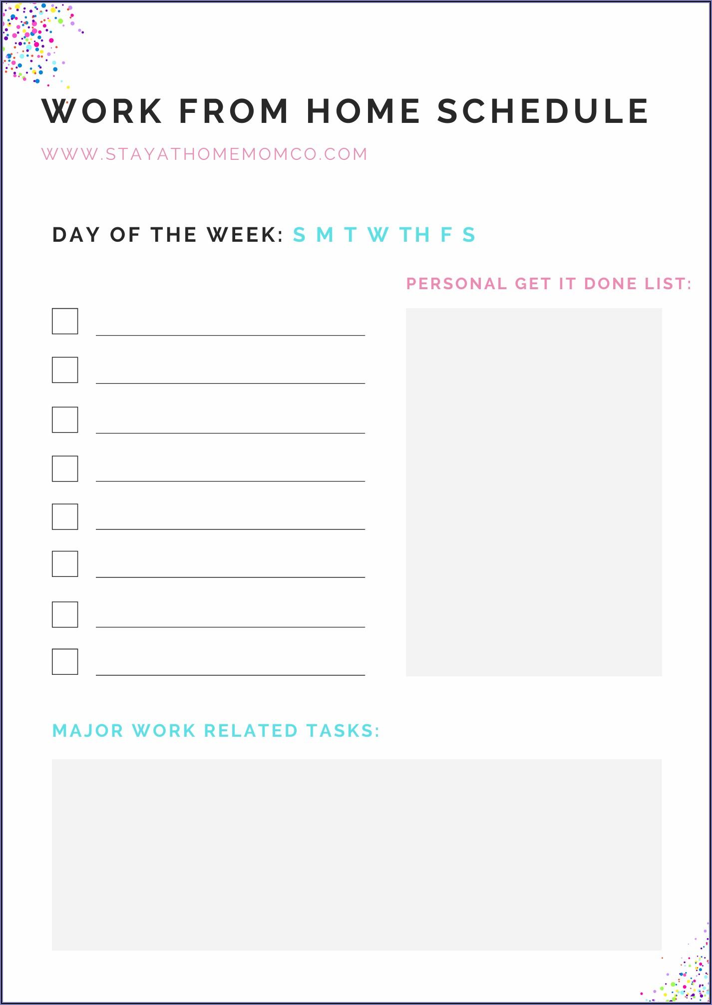 Working Schedule Excel Template