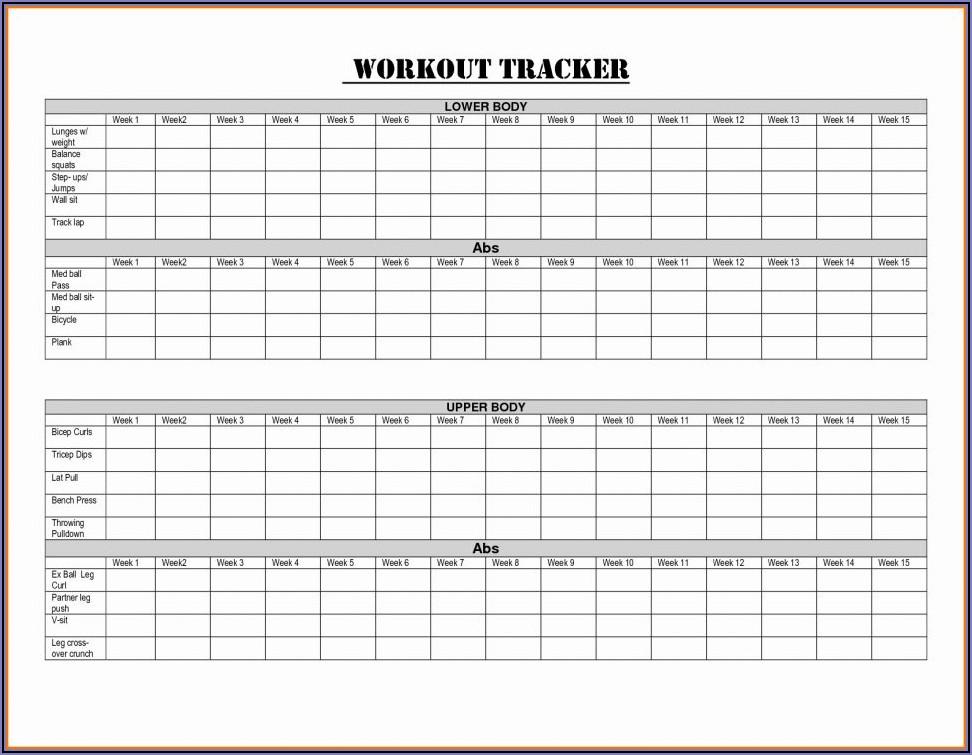 Workout Log Sheet Printable