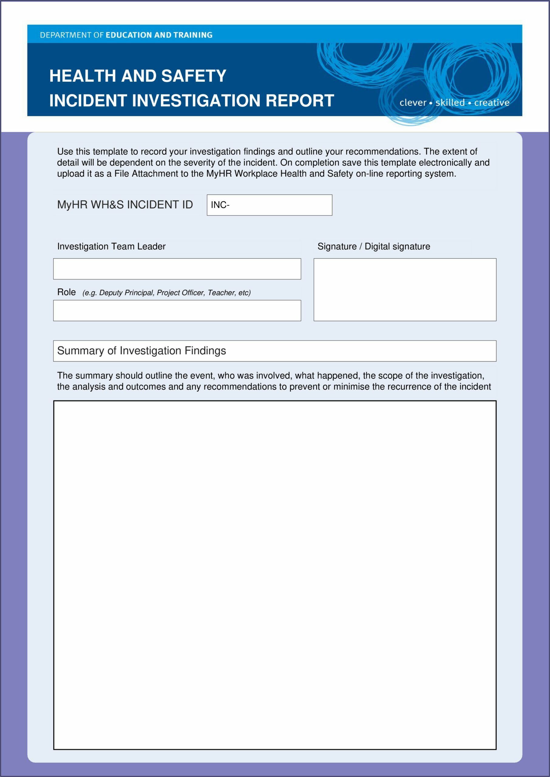 Workplace Accident Incident Report Form