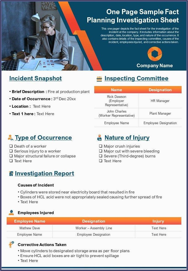 Workplace Accident Investigation Report Sample