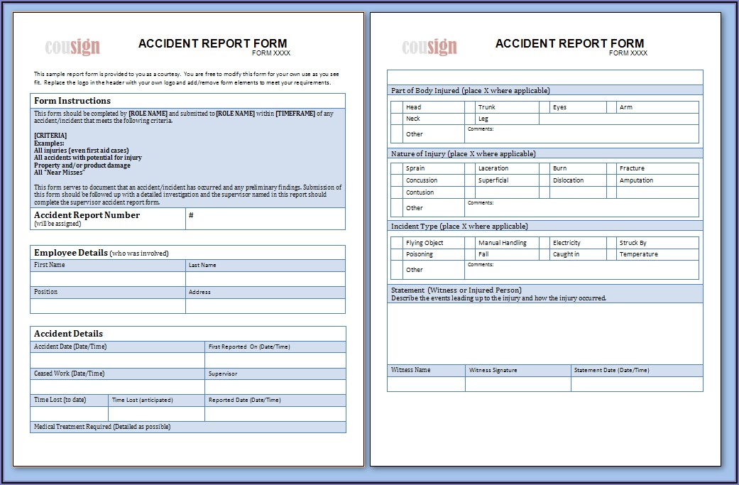 Workplace Accident Report Example Pdf