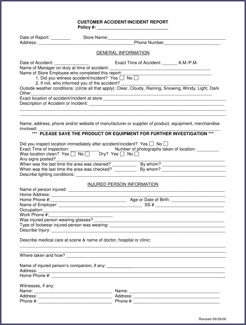 Workplace Accident Report Form Ireland