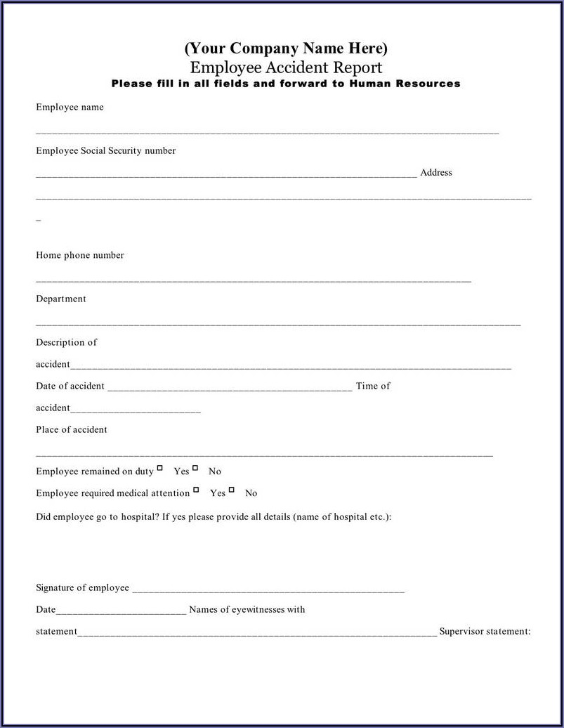 Workplace Accident Report Form Osha
