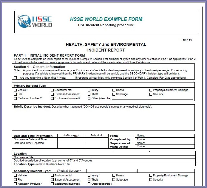 Workplace Accident Report Forms